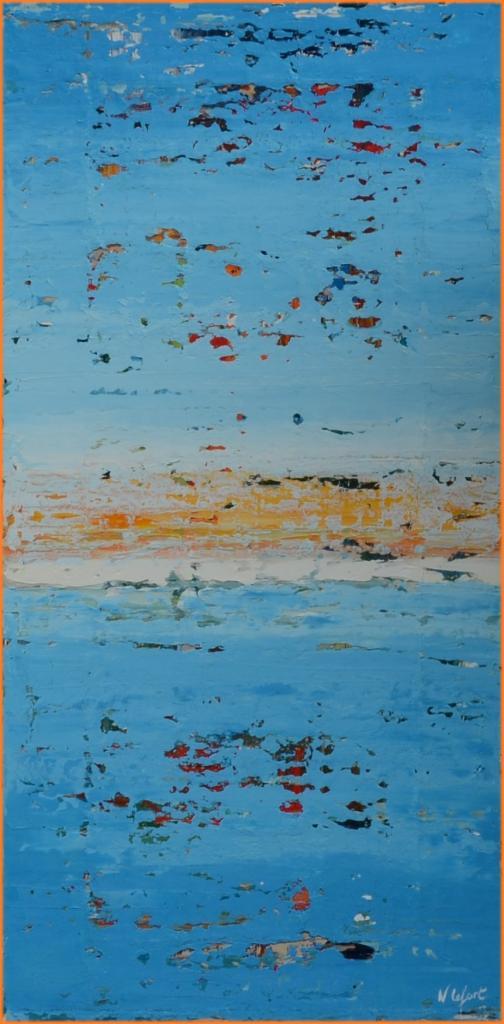Coucher de soleil sur ocean huile marine de Nathalie Lefort