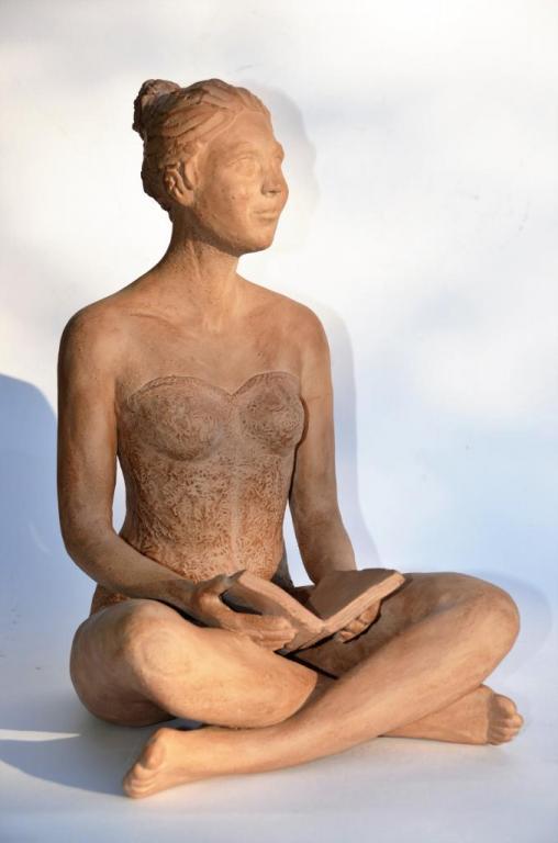 La Pause - sculpture bronze de Nathalie Lefort